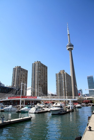 The CN Tower is a communications and observation tower in Downtown Toronto, Ontario, Canada