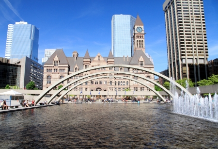 A view of Nathan Phillips Square in Toronto during a beautiful day of Spring