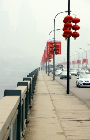 Chongqing, China, March 15, 2012 - A view of the Bridge Shibanpo over the Yangtze river.
