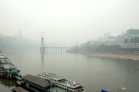 Chongqing, China, March 18, 2012 - A view of the city of Chongqing and the Yangtze river in China