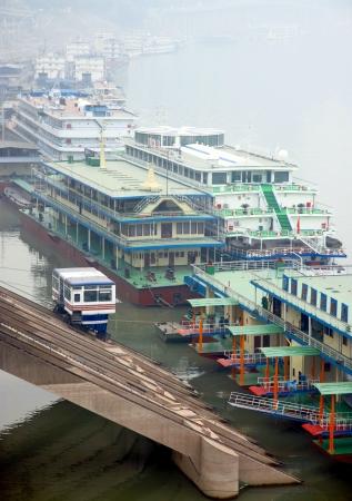 yangtze river: Chongqing, China, March 18, 2012 - Boats on the Yangtze River in Chongqing, China.