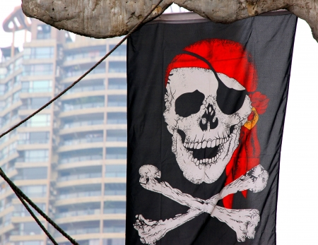 Chongqing, China, March 18, 2012 - A Jolly Roger flag