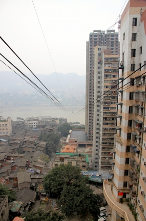 Chongqing, China, March 18, 2012 - The cable car lines upon the Yangtze River in Chongqing.
