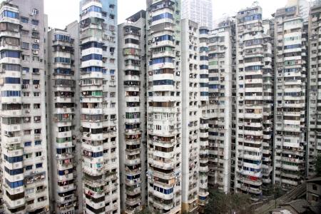 Chongqing, China, March 18, 2012 - Residential buildings in Downtown Chongqing.