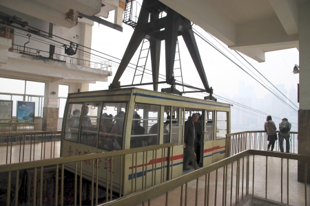 Chongqing, China, March 18, 2012 - A cable car at the arrival station in Chongqing.