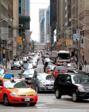 Toronto, Canada, May 27, 2012 - A view of traffic conditions in Downtown Toronto