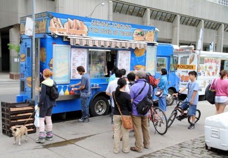 Toronto, Canada, May 27, 2012 - A truck selling street food in Toronto.