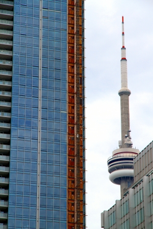 Toronto, Canada, May 27, 2012 - A view of the CN Tower and modern buildings in Toronto. Stock Photo - 14139294