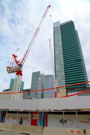 Toronto, Canada, May 27, 2012 - A crane working on a new building in Downtown Toronto. Stock Photo - 14139285