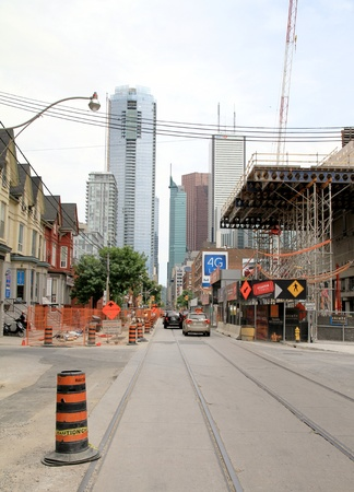 Toronto, Canada, May 27, 2012 - Public works in a street in Downtown Toronto.