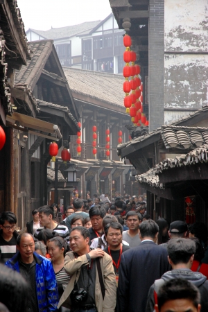 Chongqing, China, March 19, 2012 - A view of a busy street in the old part of Chongqing