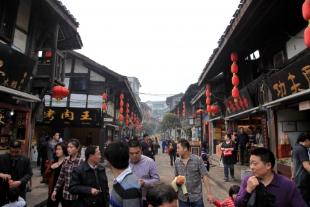 Chongqing, China, March 19 , 2012 - A view of a busy street in the old part of Chongqing