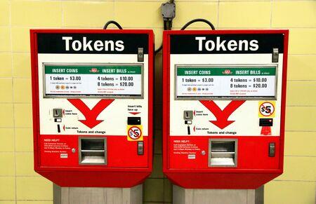 tokens: Toronto, Canada, February 5, 2011 - A tokens machine at a Toronto subway station Editorial