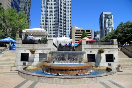 Toronto, Canada, June 13, 2012 - A view of the North York Centre and Mel Lastman Square in Toronto