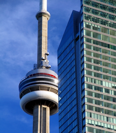 Toronto, Canada, June 13, 2012 - The Toronto CN Tower against a blu sky Stock Photo - 14339055