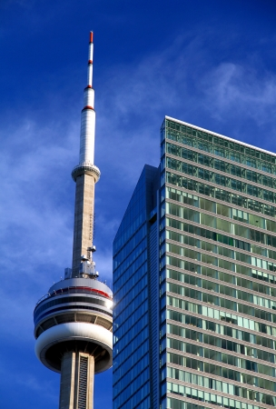 Toronto, Canada, June 13, 2012 - The Toronto CN Tower against a blu sky