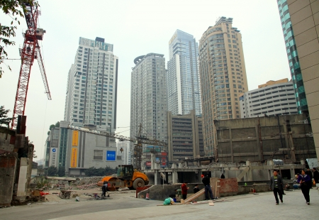 Chongqing, China, March 25, 2012 - A construction area in Downtown Chongqing