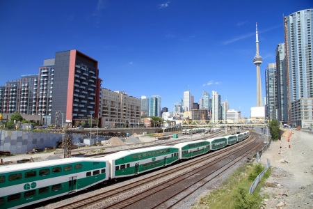 Toronto, Canada, June 29, 2012 - A Go train passing through Downtown Toronto
