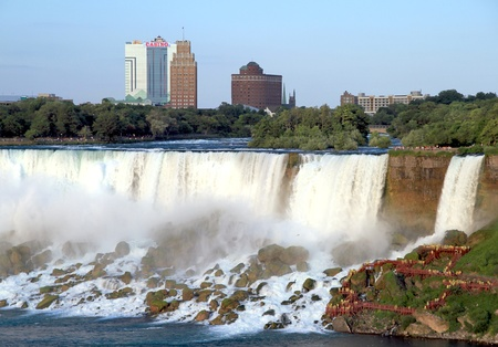 Niagara Falls, Canada, June 30, 2012 - A view of the U.S. side of the Niagara Falls and the Seeca Niagara Casino building