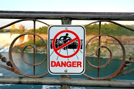 Niagara Falls, Canada, June 30, 2012 - A danger sign at the Niagara Falls Stock Photo - 14515303