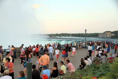 Toronto, Canada, June 30, 2012 - The crowd of visitors at the Niagara Falls lookout