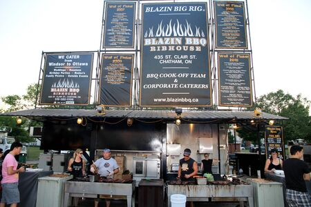 Toronto, Canada, July 7, 2012 - A barbecue stand at a ribfest on Canada Stock Photo - 14581531