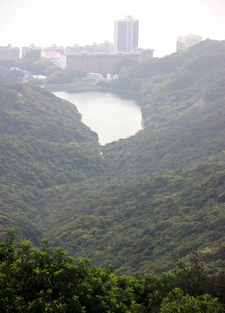 A view of the Pok Fu Lam Reservoir from the Victoria Peak in Hong Kong