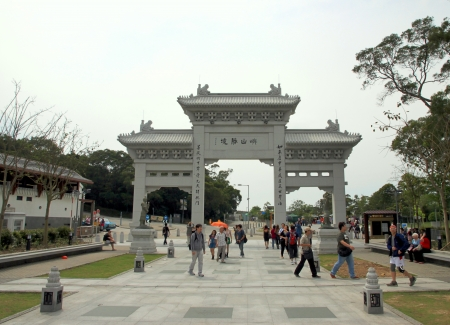 Hong Kong, March 31, 2012 - The entrance for the Tian Tan Buddha on Lantau Island, Hong Kong