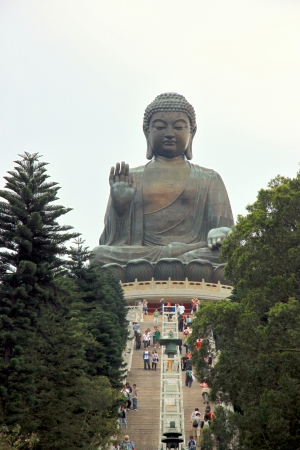 Hong Kong, March 31, 2012 - A view of the Tian Tan Buddha on Lantau Island, Hong Kong