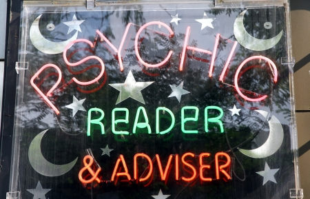 psychic: Toronto, Canada, July 22, 2012 - A sign of a business of a psychic reader