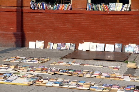 Toronto, Canada, July 22, 2012 - Second hand books on sale in a street of Toronto