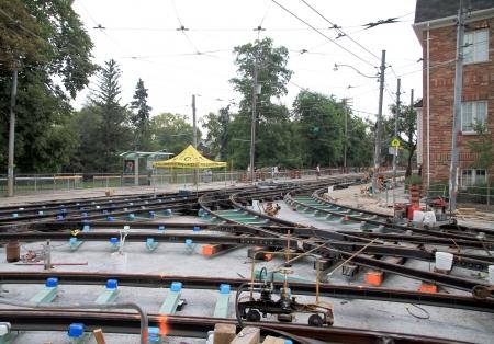 public works: Toronto, Canada, July 22, 2012 - Public works on the local urban streetcar railing in Toronto