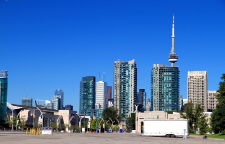Toronto, Canada, August 6, 2012 - Toronto skyline seen from the Exhibition area