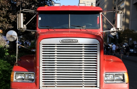 grille: Toronto, September 3, 2012 - The front grille of a Freightliner truck Editorial