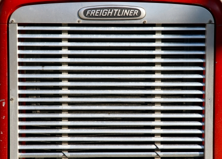 grille: Toronto, Canada, September 3, 2012 - The front grille of a Freightliner truck