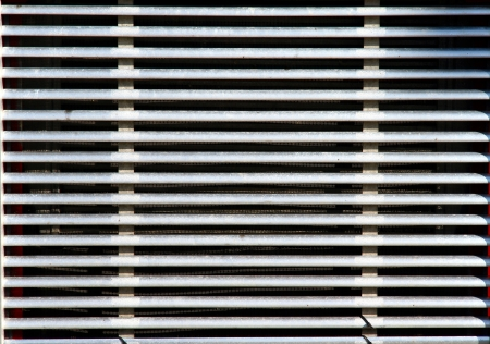 grill: The front grille of a Freightliner truck Stock Photo