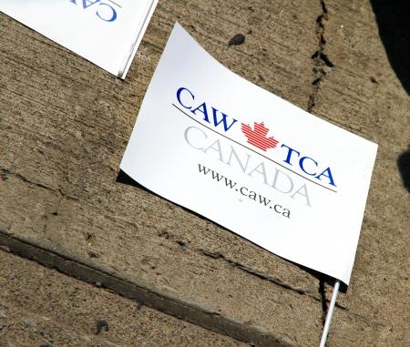 Toronto, Canada, September 3, 2012 - A CAW TCA union flag