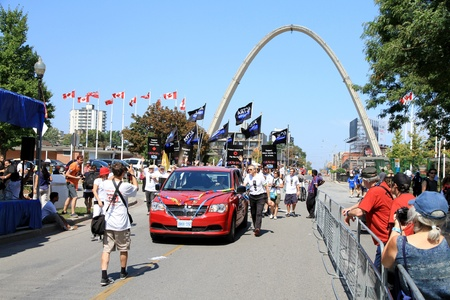 Toronto, Canada, September 3, 2012 - People marching in Toronto at the annual Labor Day Parade