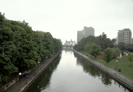 Ottawa, Canada, September 8, 2012 - A view of the Rideau Canal in Ottawa