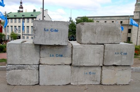 Quebec City, Canada, September 10, 2012 - Concrete blocks ready to ne used Editorial