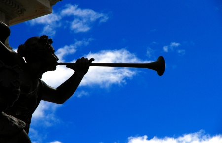 The statue of an angel playing a trumpet Stok Fotoğraf