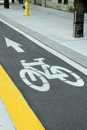 A bike lane in Toronto photo