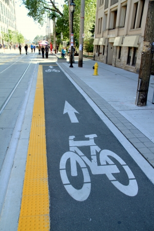 Toronto, Canada, September 16, 2012 - A bike lane in Toronto