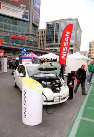 Toronto, Canada, November 23, 2012 - A Nissan vehicle 100% electric