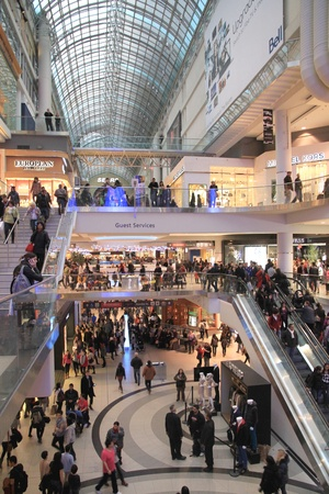 christmas shopping: A view of the Chrismas shopping at the Eaton Center in Toronto Editorial