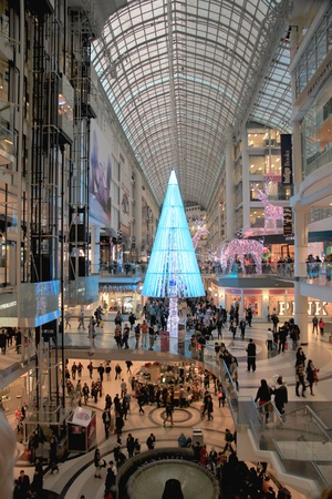A view of the Chrismas shopping at the Eaton Center in Toronto