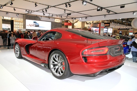 Toronto, Canada, February 15, 2013 - A red Dodge Viper at the annual Canadian International AutoShow