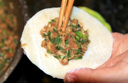 Chinese Jiaozi  dumplings  Preparation