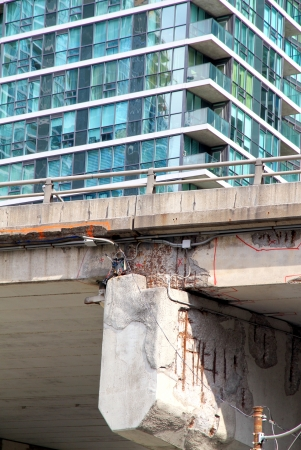 Damaged portion of the Gardiner Expressway on June 8, 2013 in Toronto
