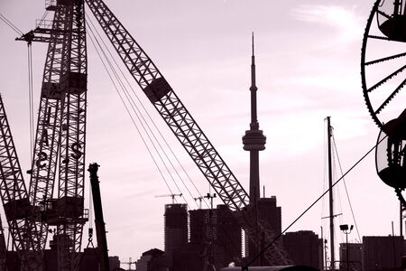 CN Tower seen from Cherry street industrial area on July 21, 2013 in Toronto Editorial